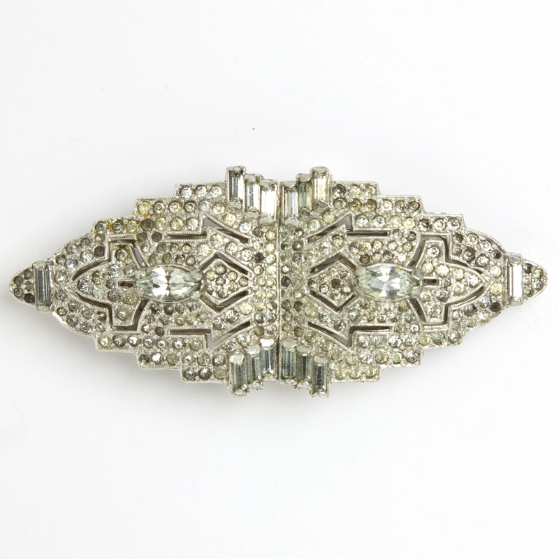 Diamante 1930s brooch or pair of dress clips