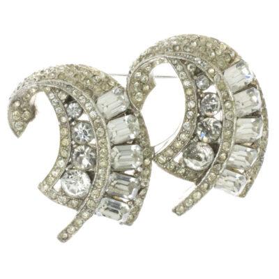 Coro Duette vintage jewelry with diamanté leaves