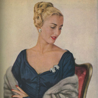 1947-1948 magazine ad showing how to wear clips