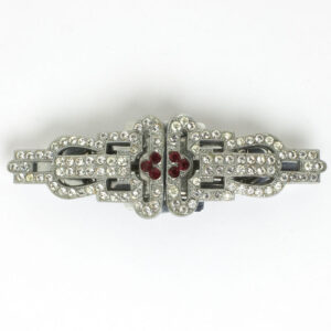 Diamante & ruby German Art Deco double-clip brooch