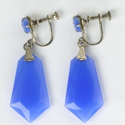 Chalcedony Art Deco Drop Earrings