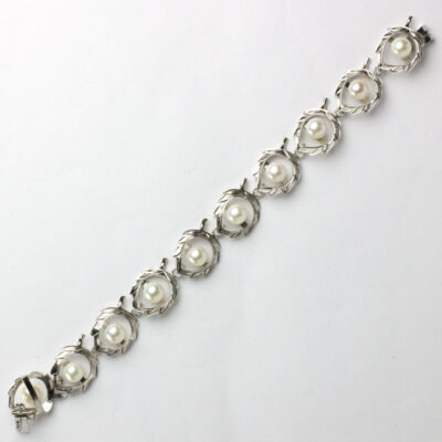 Pearl and sterling silver link 1950s bracelet