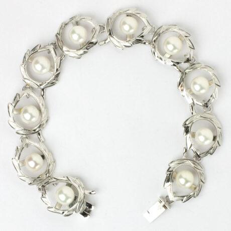 Vintage sterling and pearl bracelet