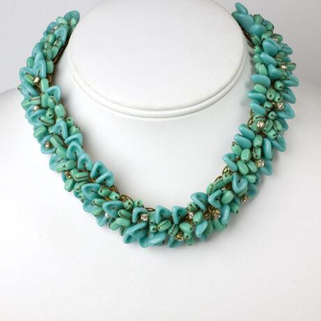 Turquoise bead choker necklace with diamanté