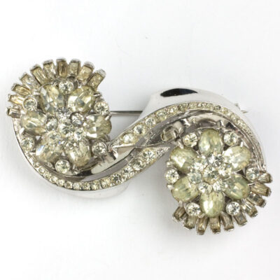 Coro sterling brooch or pair of clips in 'Platina' design