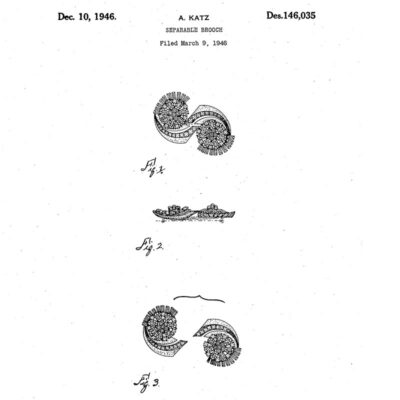 Design patent for 'Platina' brooch