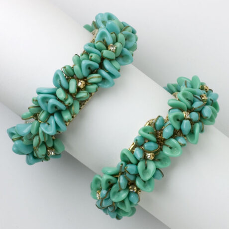 Pair of turquoise glass bead bracelets