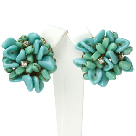 Turquoise bead earrings with diamanté accents