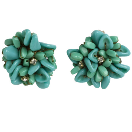 Turquoise & diamante 1950s ear clips