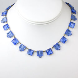 Faux sapphire necklace with square & step-pattern stones