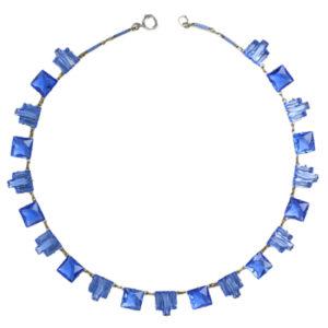 Blue chicklet necklace