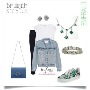Outfit paired with emerald & filigree Art Deco necklace and emerald & filigree Art Deco bracelet