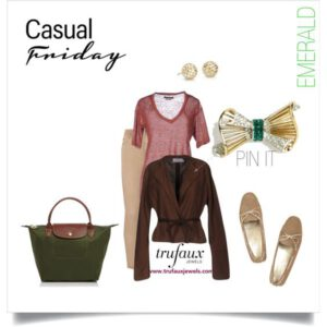 Casual Friday outfit with Marcel Boucher bow brooch with emeralds