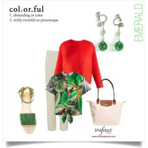 Colorful outfit with emerald bead Art Deco pendant earrings