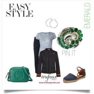Denim outfits adorned with 1940s McClelland Barclacy emerald & silver-tone brooch