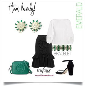 Black & white outfit with 1950s emerald & diamante earrings and bracelet