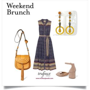 Weekend brunch outfit with Apple Juice Celluloid Art Deco earrings