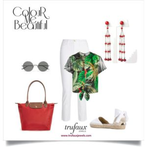 Colorful smart-casual outfit with red bead Art Deco chandelier earrings