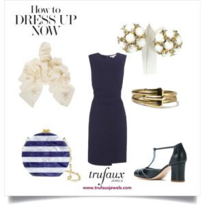 Navy dress with 1950s milk glass Hattie Carnegie earrings and 1940s Forstner gold flexible spiral cuff