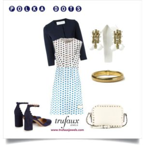 Polka dot dress with milk glass Machine Age Miriam Haskell earrings and 1940s Forstner bracelet