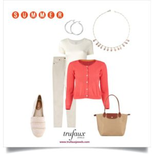 Cardigan and jeans outfit in warm tones with a coral bead Art Deco fringe necklace