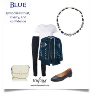 Navy and cream office outfit with a Galalith Art Deco necklace in the same hues