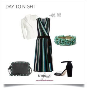 A dress and blazer go from office to an evening out with a turquoise bead and diamante 1950s bracelet