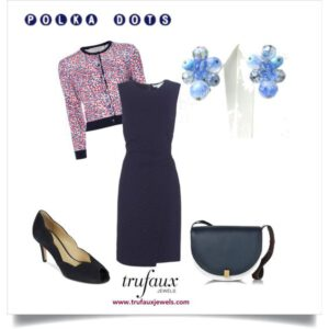 Navy dress with blue bead earrings & polka dot cardigan