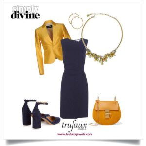 Navy dress with golden topaz & citrine 1950s Coro necklace