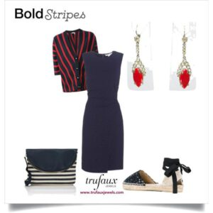 Navy dress with lipstick-red Art Deco earrings & stripes