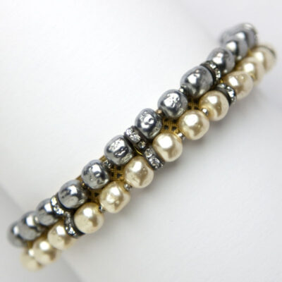 Miriam Haskell bracelet with gray & cream pearls & rondelles