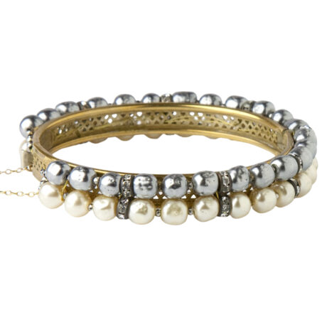 Back view of grey & cream pearl bangle bracelet