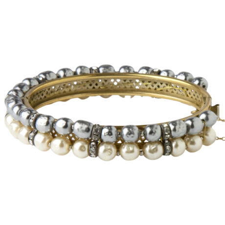 Front view of grey & cream pearl bangle bracelet