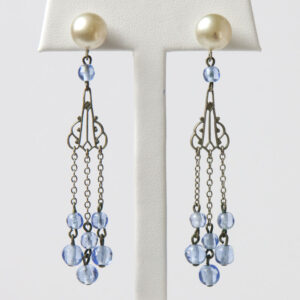 Art Deco pearl earrings with dangling blue beads