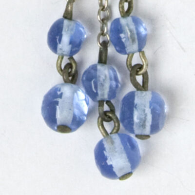 Close-up view of blue glass beads