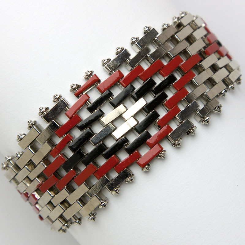 Red & black vintage enamel bracelet in brickwork pattern by Jakob Bengel