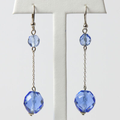 Art Deco drop earrings with sapphire glass beads