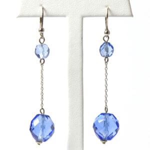 Art Deco drop earrings with sapphire glass beads
