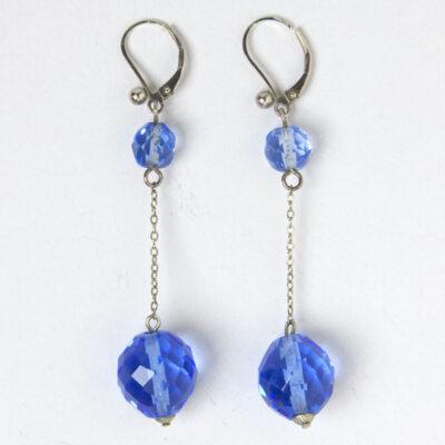 Sapphire bead Art Deco drop earrings