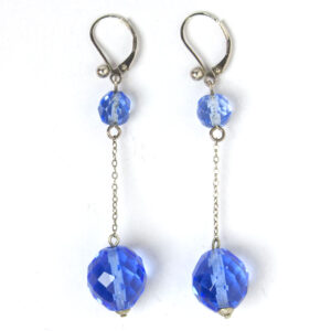 Blue bead Art Deco drop earrings