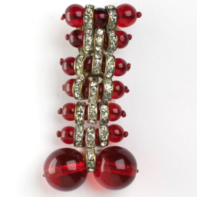 Miriam Haskell brooch (clip) with ruby glass beads & rondelles