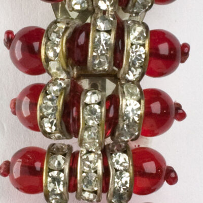 Close-up view of Miriam Haskell brooch/clip