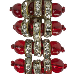 Close-up view of ruby bead brooch
