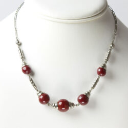 1930s necklace by Jakob Bengel with red beads and chrome