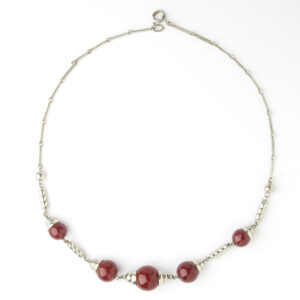 Red bead & chrome Machine Age necklace
