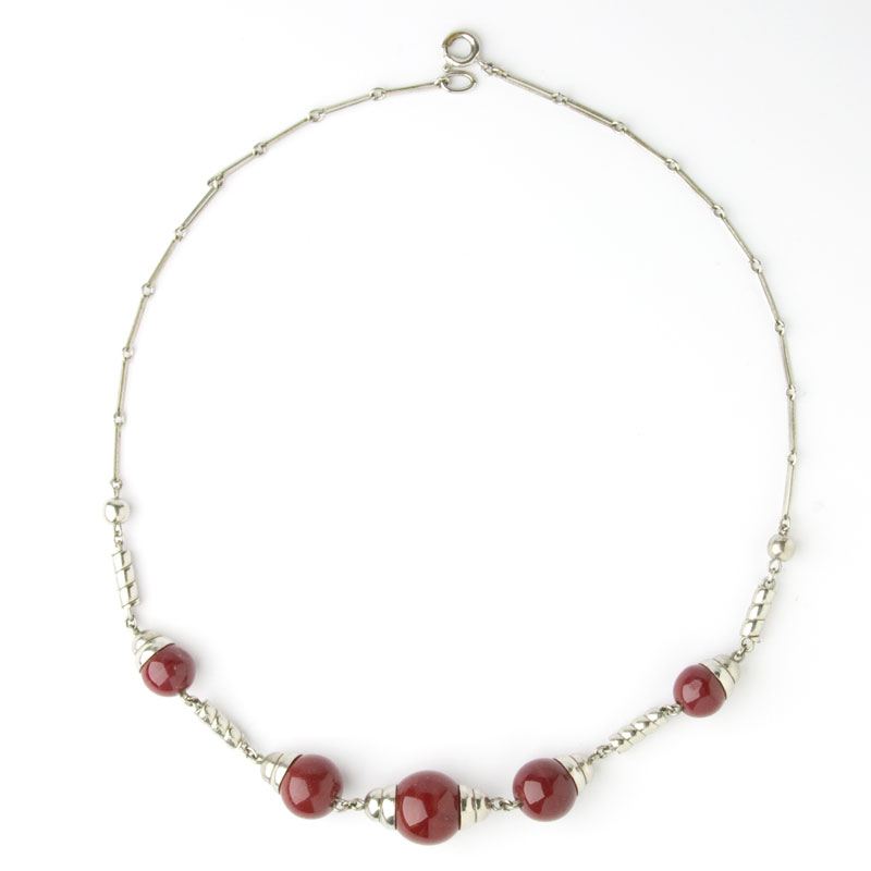Red bead & chrome Machine Age necklace by Bengel