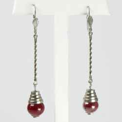 Art Deco pendant earrings by Bengel with red beads & chrome
