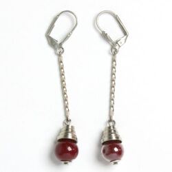 Red bead & chrome Machine Age earrings