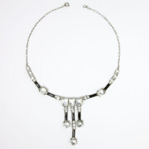 Art Deco black & white crystal necklace
