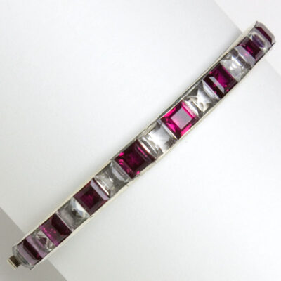Art Deco bangle with ruby & crystal in sterling